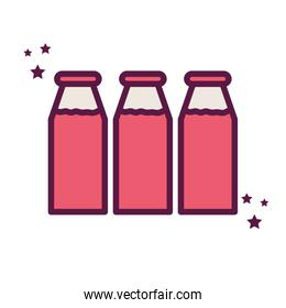 Isolated milk bottles line and fill style icon vector design