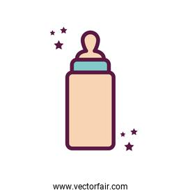 Isolated milk baby bottle line and fill style icon vector design