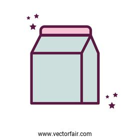 Isolated milk box line and fill style icon vector design