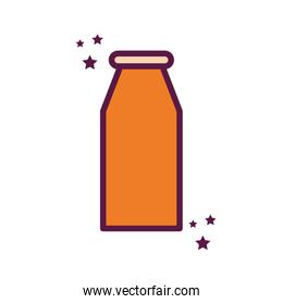 Isolated milk bottle line and fill style icon vector design