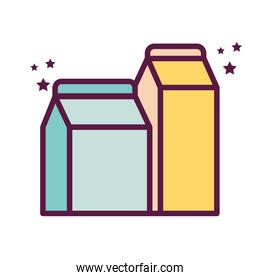 Isolated milk boxes line and fill style icon vector design