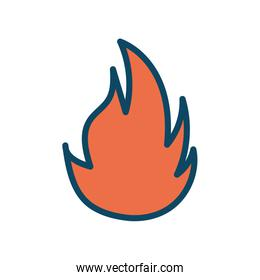 Isolated flame line and fill style icon vector design