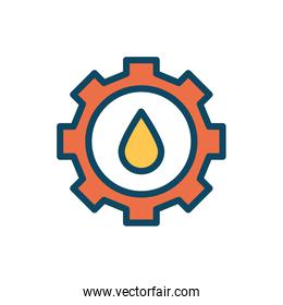 Isolated oil drop inside gear line and fill style icon vector design