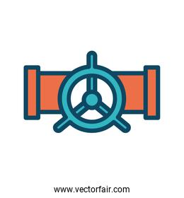 Isolated oil pipe with tap line and fill style icon vector design