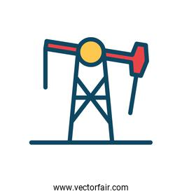 Isolated oil pump line and fill style icon vector design