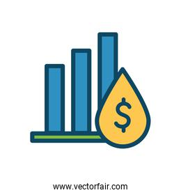 Isolated dollar inside oil drop and infographic bars line and fill style icon vector design