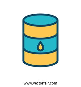 Isolated oil barrel line and fill style icon vector design