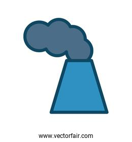 Isolated factory chimney with smoke line and fill style icon vector design