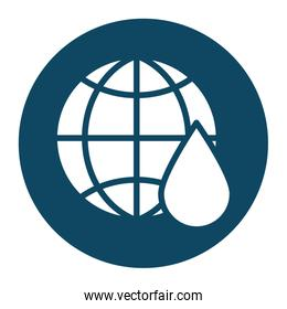 Isolated oil drop and global sphere block and flat style icon vector design
