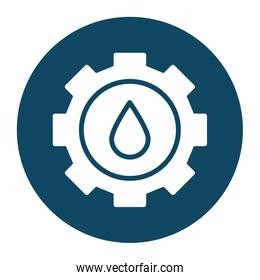 Isolated oil drop inside gear block and flat style icon vector design
