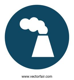 Isolated factory chimney with smoke block and flat style icon vector design