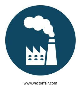Isolated factory with smoke block and flat style icon vector design