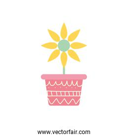 Isolated flower inside pot block gradient style icon vector design