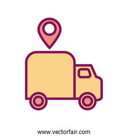 Isolated delivery truck and gps mark line and fill style icon vector design