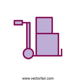 Isolated delivery boxes over cart line and fill style icon vector design