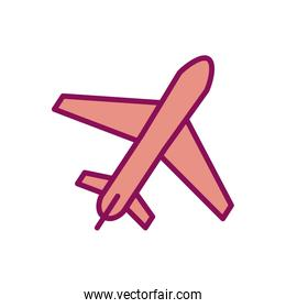 Isolated airplane line and fill style icon vector design