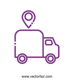 Isolated delivery truck and gps mark line style icon vector design
