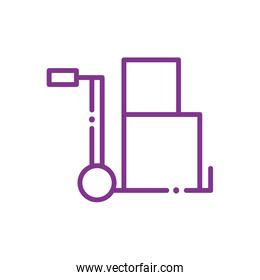 Isolated delivery boxes over cart line style icon vector design