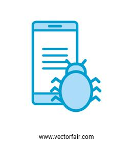 Isolated bug and smartphone line and fill style icon vector design