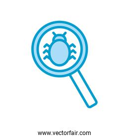 Isolated bug inside lupe line and fill style icon vector design