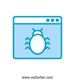 Isolated bug inside website line and fill style icon vector design