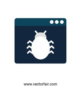 Isolated bug inside website flat style icon vector design