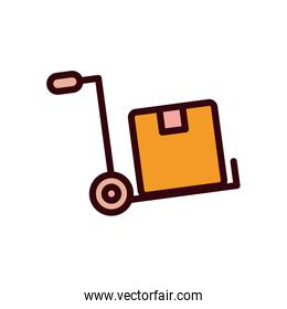 Isolated delivery box over cart line and fill style icon vector design