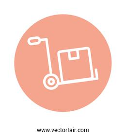 Isolated delivery box over cart line and block style icon vector design