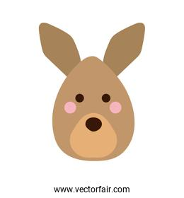 Cute kangaroo cartoon flat style icon vector design