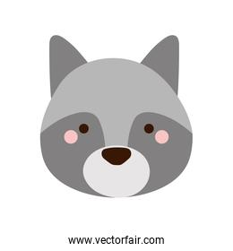 Cute wolf cartoon flat style icon vector design