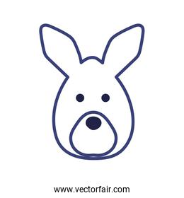 Cute kangaroo cartoon line style icon vector design