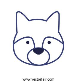 Cute wolf cartoon line style icon vector design