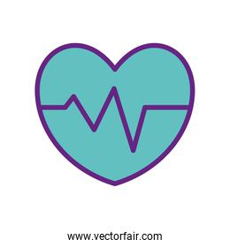 Isolated heart pulse line and fill style icon vector design