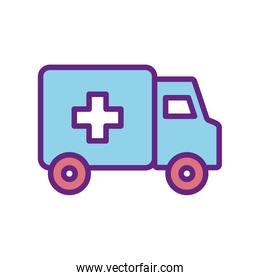 Isolated ambulance line and fill style icon