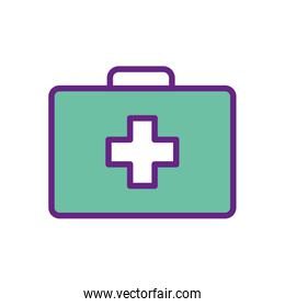 Isolated cross inside kit line and fill style icon vector design