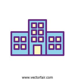 Isolated city buildings line and fill style icon vector design
