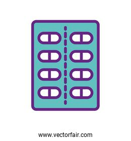 Isolated pills line and fill style icon vector design