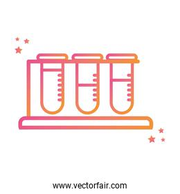 Isolated chemistry tubes gradient style icon vector design