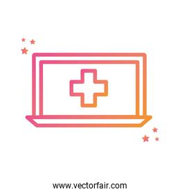 Isolated cross inside laptop gradient style icon vector design