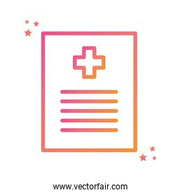 Isolated cross inside document gradient style icon vector design