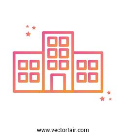 Isolated city buildings gradient style icon vector design