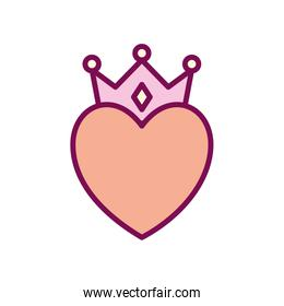 heart with crown line and fill style icon vector design