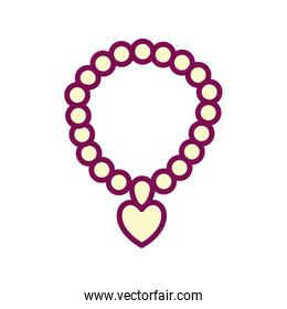 necklace with heart line and fill style icon vector design