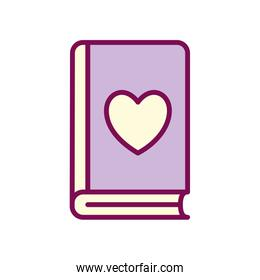 book with heart line and fill style icon vector design