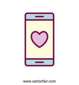 heart inside smartphone line and fill style icon vector design