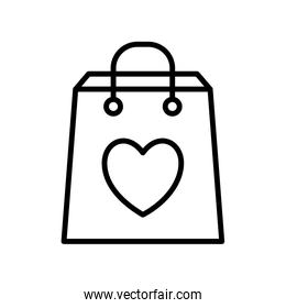 Isolated shopping bag with heart line style icon vector design