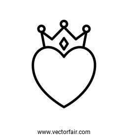 heart with crown line style icon vector design