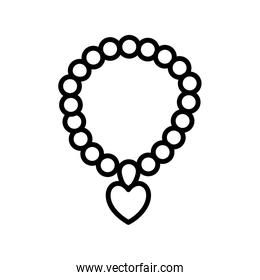 necklace with heart line style icon vector design