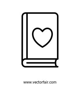 book with heart line style icon vector design