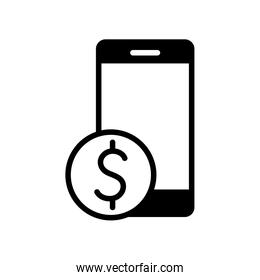 Isolated money coin and smartphone silhouette style icon vector design